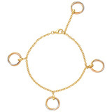 18k Gold &quot;Trinity&quot; Rolling Ring Charm Bracelet
