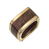 18k Gold & Wood Dinh Van Band Ring