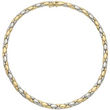 18k Yellow & White Gold Geometric Link Necklace