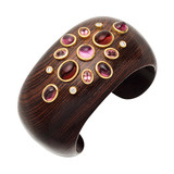 Carved Wood & Gem-Set Cuff Bracelet