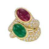 "Pair of Gemstone & Diamond ""Nesting"" Rings"