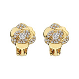 "​Small 18k Gold & Diamond ""Camellia"" Earclips"