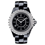 J12 Small Quartz Black Ceramic &amp; Diamonds (H0949)