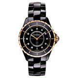 J12 Large Quartz Black Ceramic & Rose Gold (H2544)