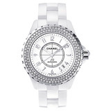 J12 Large Automatic White Ceramic & Diamonds (H0969)
