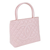 Pink Quilted Caviar Leather Medallion Tote