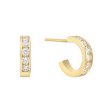 18k Yellow Gold & Diamond Huggie Earrings