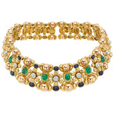 ​18k Gold & Gem-Set Floral Choker Necklace