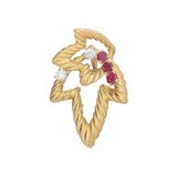 18k Gold, Ruby & Diamond Double Leaf Pendant