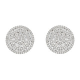 Circular Diamond Cluster Disk Earrings