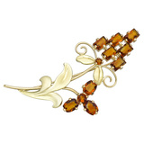 14k Gold & Citrine Flower Brooch