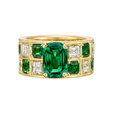Colombian Emerald & Diamond Wide Band Ring