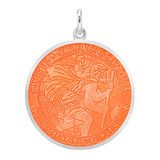 ​Large Silver St. Christopher Medal with Coral Enamel