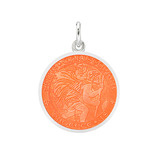 ​Small Silver St Christopher Medal with Coral Enamel