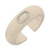 Cream Stingray Cuff with Antique Diamond Oval Pin