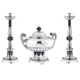 Antique &quot;Crusader&quot; Candlesticks with Soup Toureen
