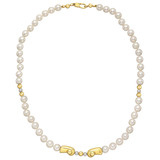 ​Cultured Pearl & 18k Yellow Gold Bead Necklace