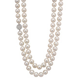 Long Cultured Pearl Necklace with Pavé Diamond Clasp