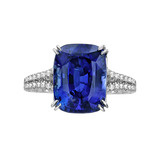 6.90 Carat Cushion-Cut Sapphire & Diamond Ring