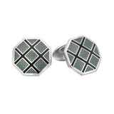 Gray & Black Patterned Octagonal Cufflinks
