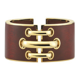 "​18k Yellow Gold & Bloodwood ""Shoelace"" Cuff Bracelet"
