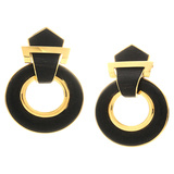 ​18k Yellow Gold & Ebony Doorknocker Earrings