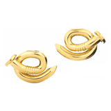 "​Polished 18k Yellow Gold ""Bent Nail"" Earrings"