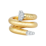 "Hammered ​18k Yellow Gold & Diamond ""Nail"" Ring"