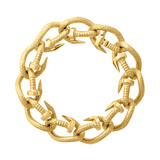 "Hammered 18k Yellow Gold ""Nail"" Link Bracelet"