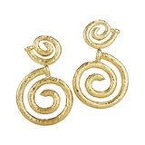 "Hammered 18k Yellow Gold ""Spiral Nail"" Earrings"