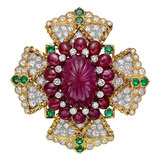 Ruby, Emerald & Diamond Maltese Cross Brooch