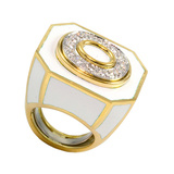 ​White Enamel & Diamond Octagonal Ring