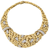 18k Gold & Pavé Diamond Collar Necklace