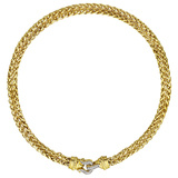 18k Gold Link Necklace with Diamond Buckle Clasp