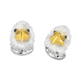 Silver & Carved Rock Crystal Bald Eagle Cufflinks