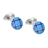 Silver Light & Dark Blue Striped Round Cufflinks