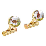 18k Gold Game Bird Crystal Cufflinks