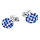 Silver Blue & White Patterned Cufflinks