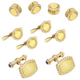 18k Gold, Yellow Enamel & Diamond Dress Set