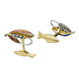 18k Gold Fly Fishing Lure Cufflinks
