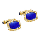 ​18k Gold, Blue Enamel & Diamond Cufflinks