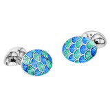 Silver Light Green &amp; Blue Patterned Enamel Cufflinks
