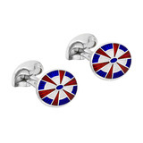 Silver Red & Blue Patterned Cufflinks
