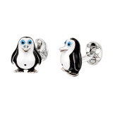 Silver &amp; Enamel Penguin Cufflinks