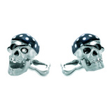 18k White Gold Pirate&#039;s Head CuffLinks with Diamond Eye