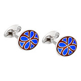 Silver Royal Blue & Burgundy Patterned Cufflinks