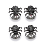 ​Silver & Black Spinel Spider Shirt Studs