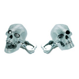18k White Gold Skull Cufflinks with Diamond Eyes