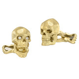 18k Gold Skull Cufflinks with Diamond Eyes
