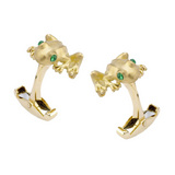 18k Gold Tree Frog Cufflinks with Emerald Eyes